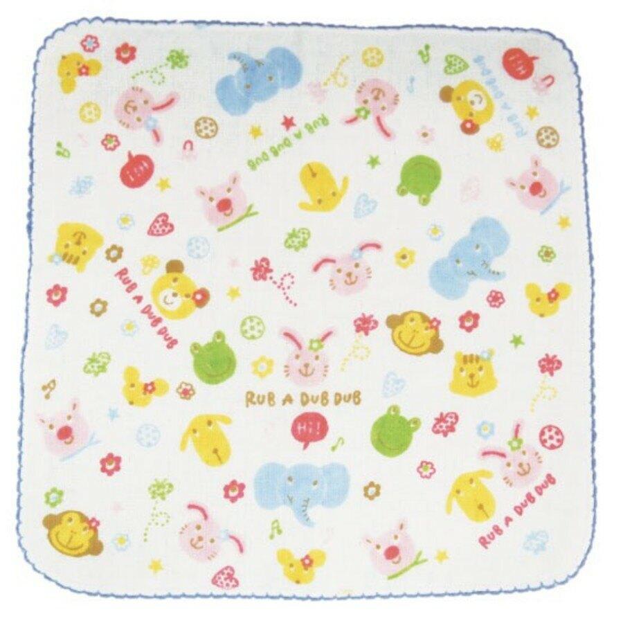 【日本製】【Rub a dub dub】幼童用 繽紛寶寶手帕巾 藍色 - Rubadubdub