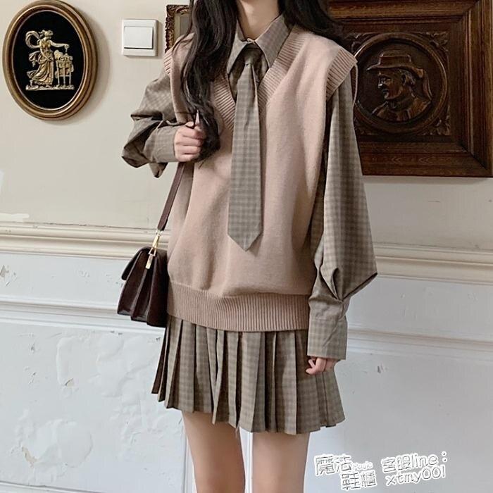 夏日新品-秋季2021新款韓版學院風寬鬆格子拼接長袖襯衫連身裙女網紅百褶裙