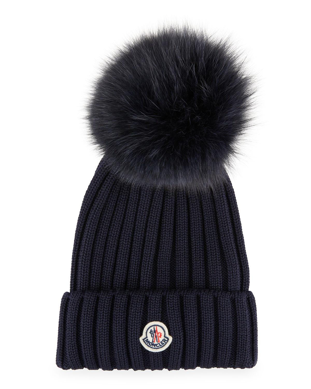 Ribbed-Knit Beanie Hat w/Fur Pompom, Black