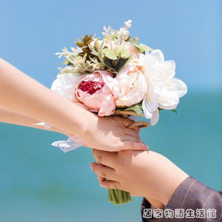 森系韓式高檔接親新娘手捧花花球仿真鮮花束結婚婚禮婚紗攝影旅拍 創時代3C 交換禮物 送禮