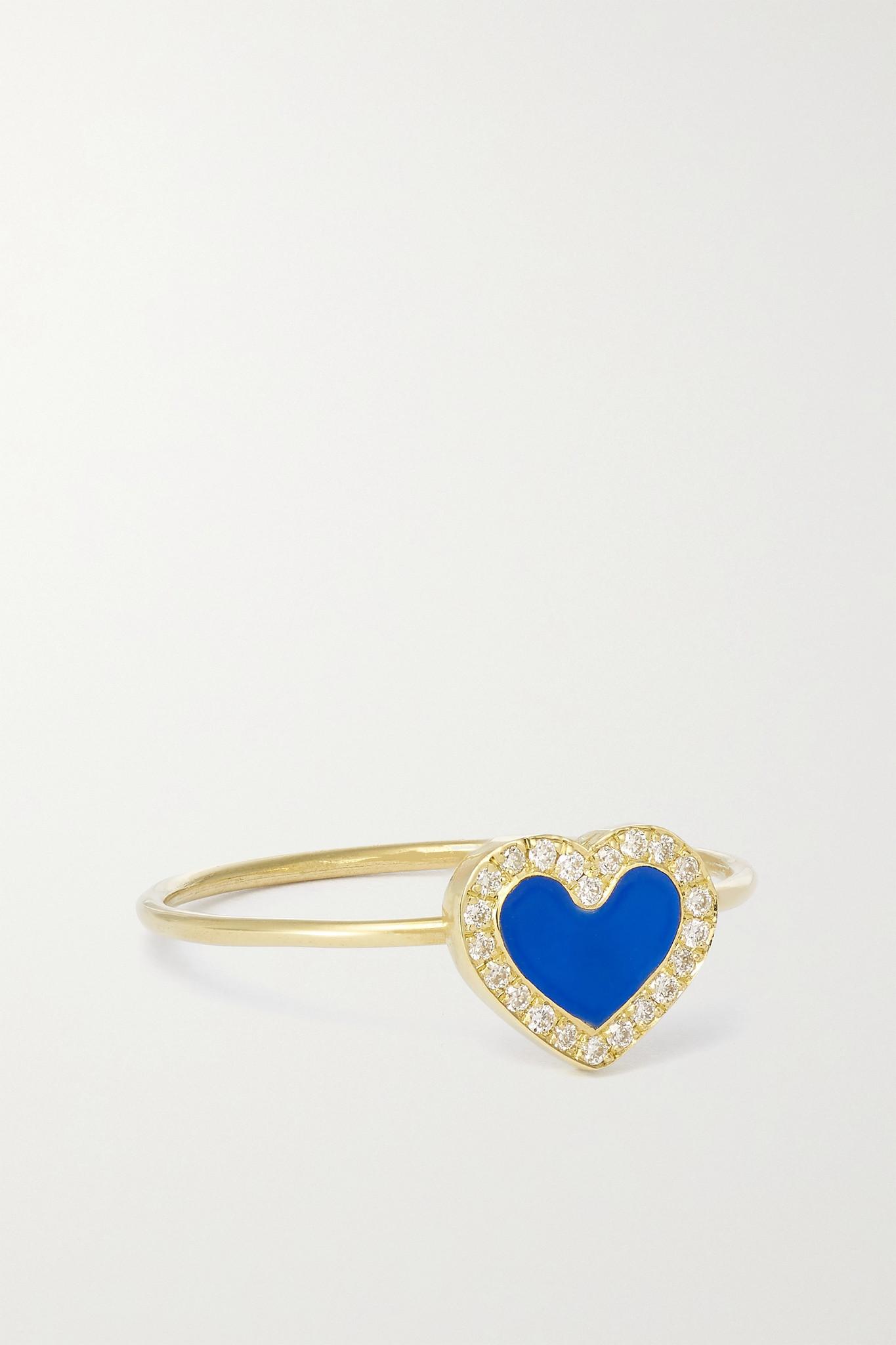 JENNIFER MEYER - Extra Small Heart 18-karat Gold, Lapis Lazuli And Diamond Ring - 6