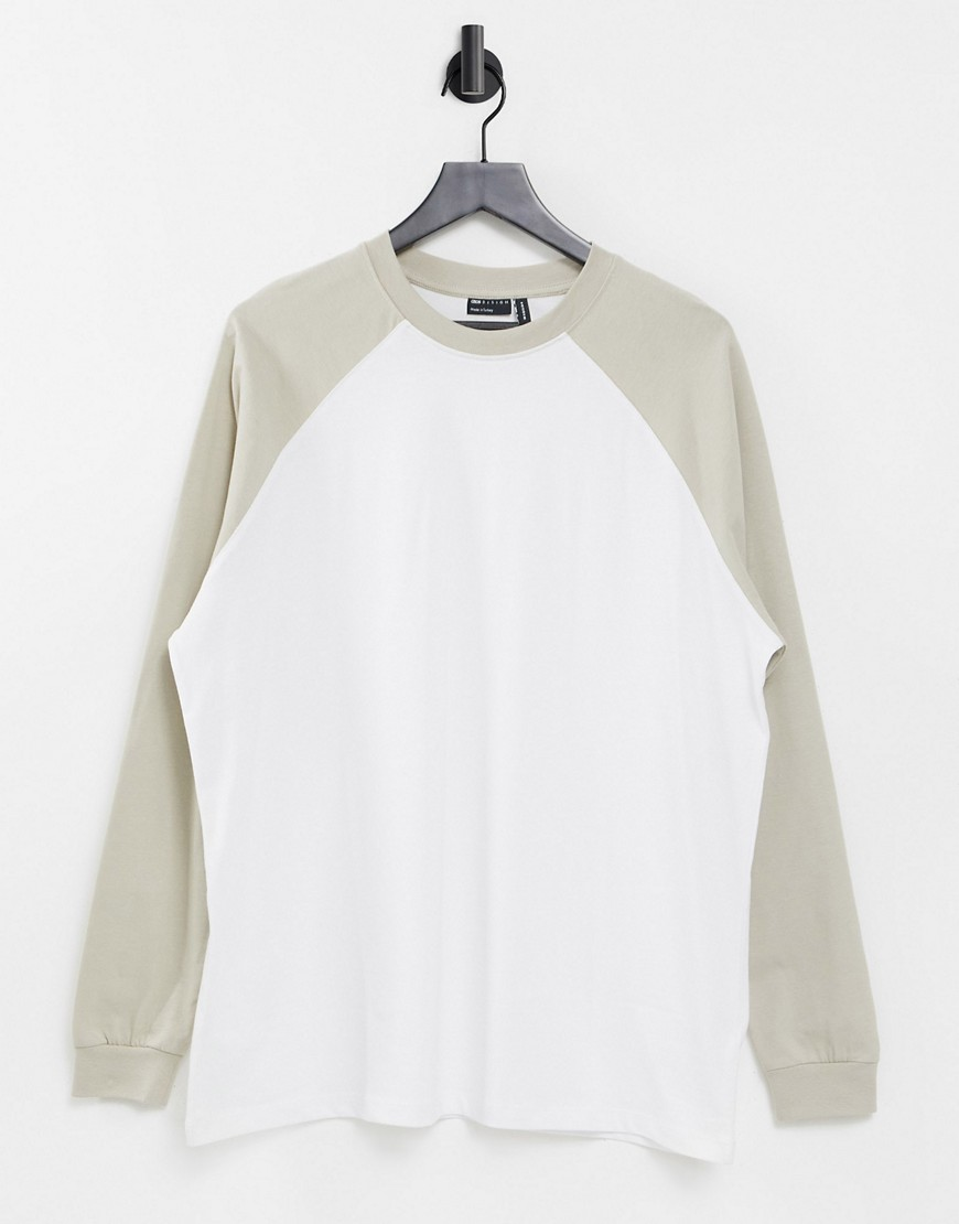ASOS DESIGN oversized long sleeve t-shirt with contrast raglan seam in white and ecru-Multi