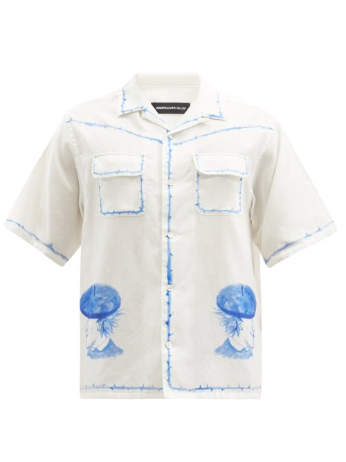 Undercover - Beret Lads Watercolour-print Cotton-poplin Shirt - Mens - White