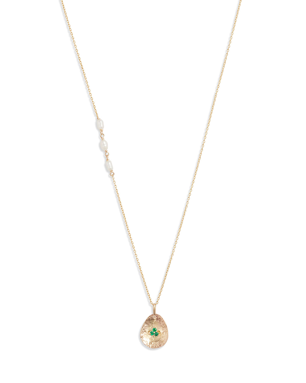 14k Gold Pearl and Emerald Petal Pendant Necklace