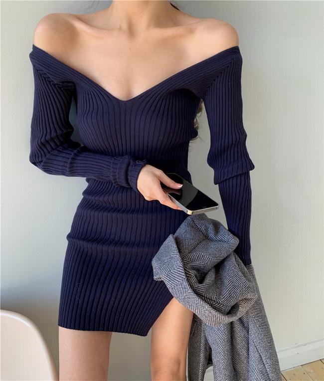FOFU-百搭v領修身顯瘦針織連身裙【08SG05386】