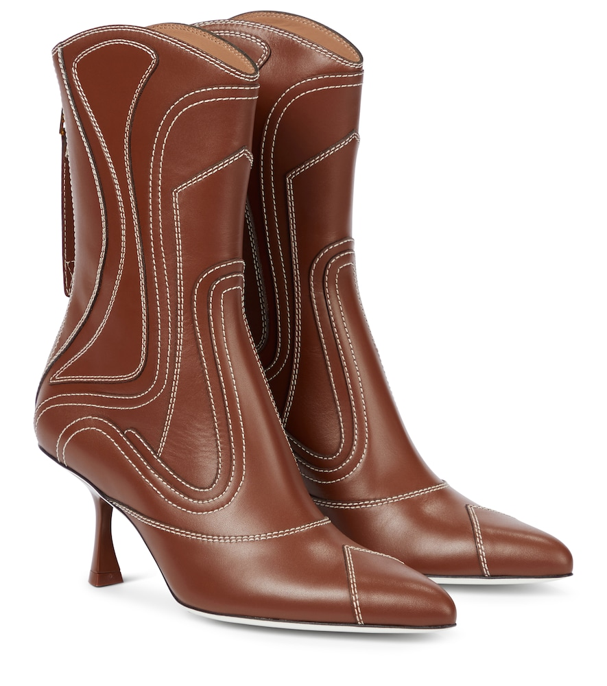 Liquid leather ankle boots