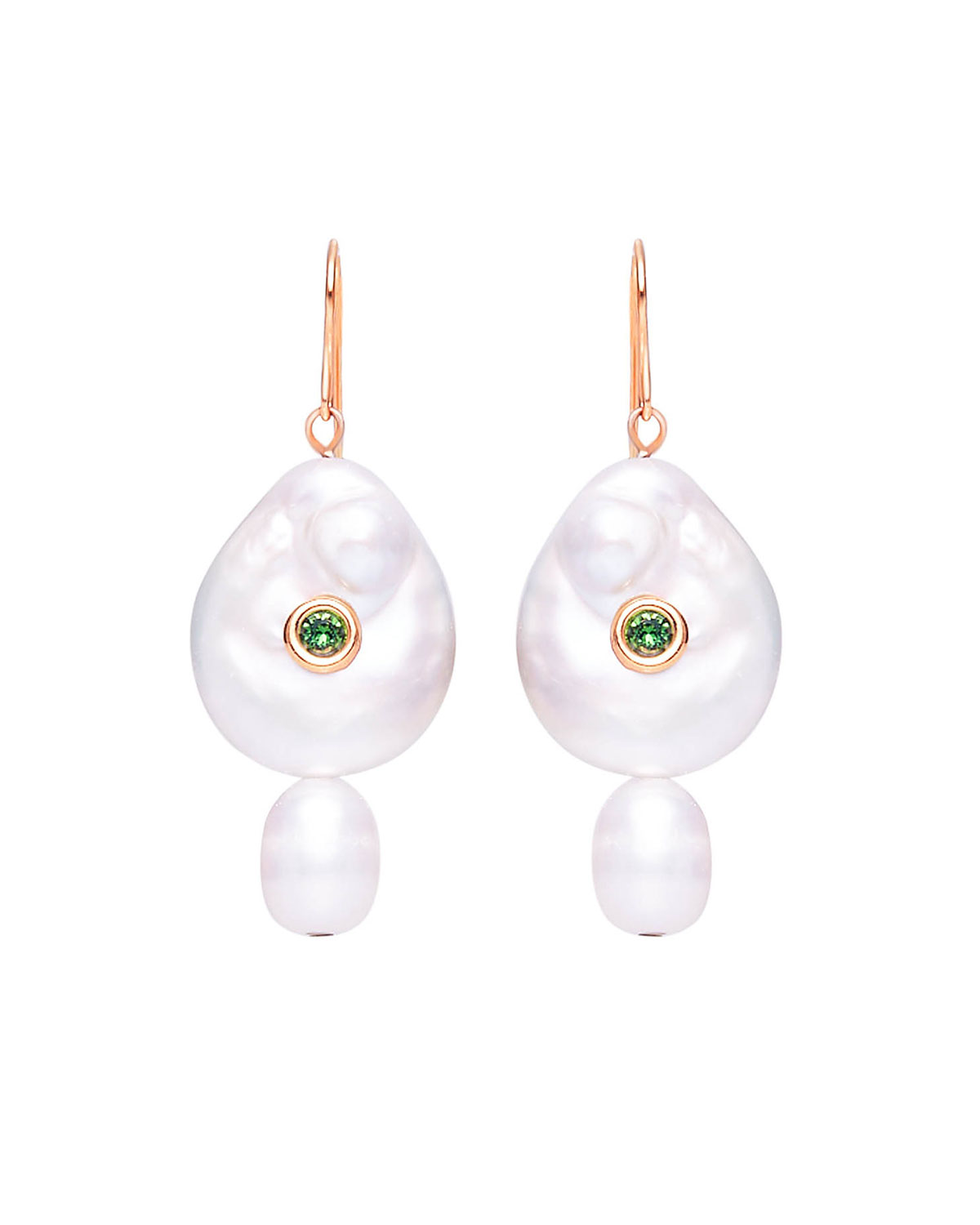 Nat Pearl and Stone Drop Earrings