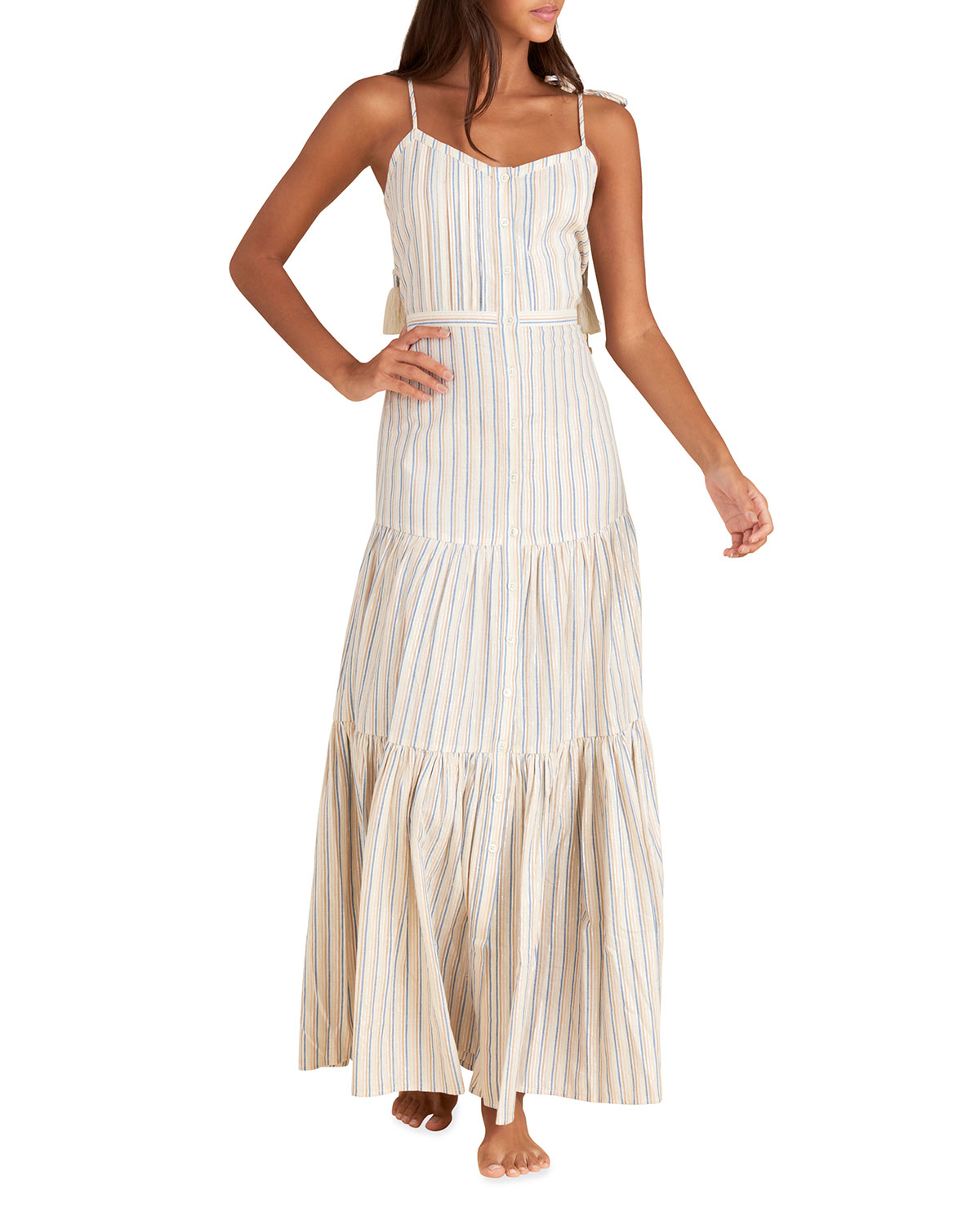 Windansea Striped Tassel-Tie Dress