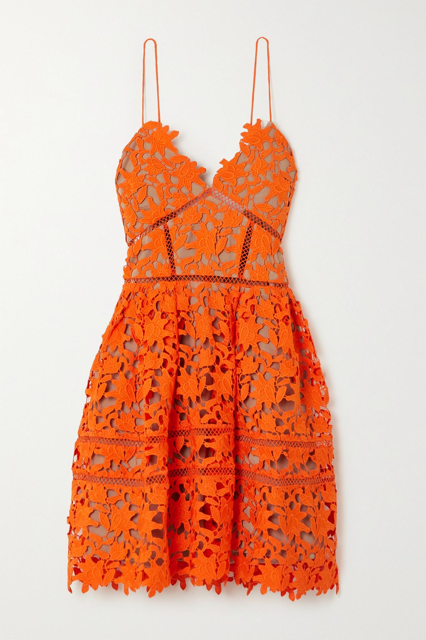SELF-PORTRAIT - Azaelea Neon Guipure Lace Mini Dress - Orange - UK4