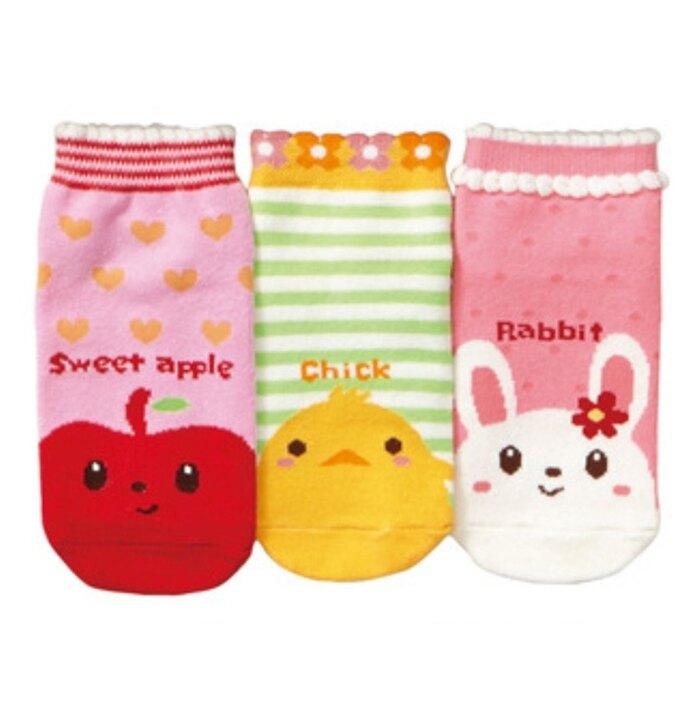 (5雙一組) 蘋果動物防滑膠點短襪 兒童短襪 襪子 女童 兒童 橘魔法 現貨 童裝 橘魔法【p0061223530756】