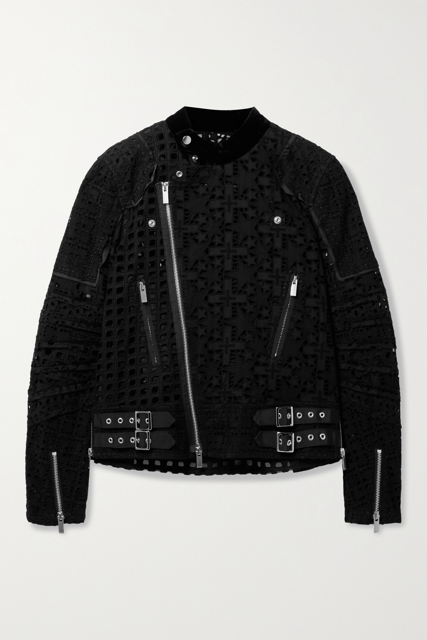 SACAI - Velvet And Crepe De Chine-trimmed Broderie Anglaise Cotton Jacket - Black - 1