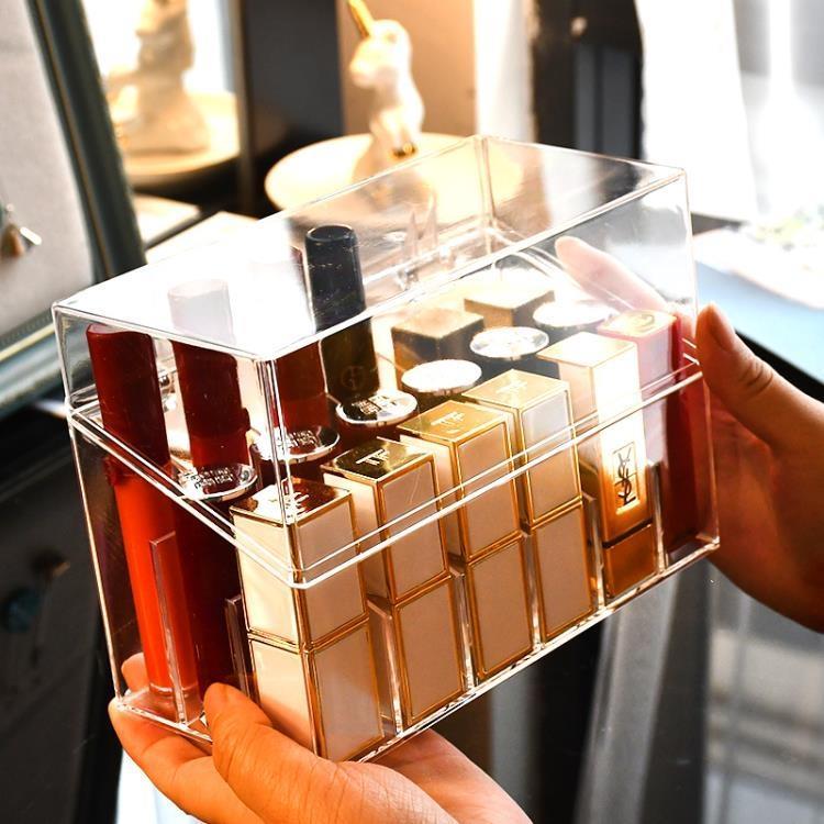 網紅口紅收納盒防塵桌面唇釉多格化妝品口紅架收納整理盒透明帶蓋