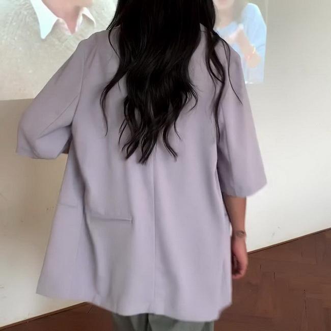 FOFU-西裝外套女薄款韓版寬鬆五分袖中長版休閒小西裝【08SG05427】