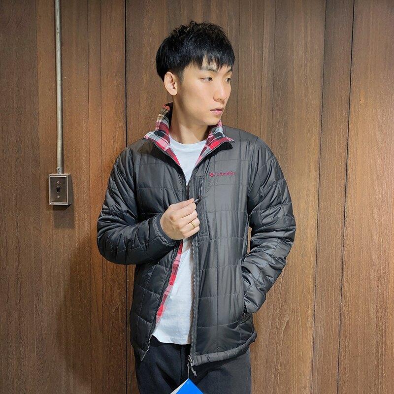 美國百分百【全新真品】Columbia 哥倫比亞 立領外套 兩面穿 夾克 保暖 防潑水 格紋 黑色 S號 B753
