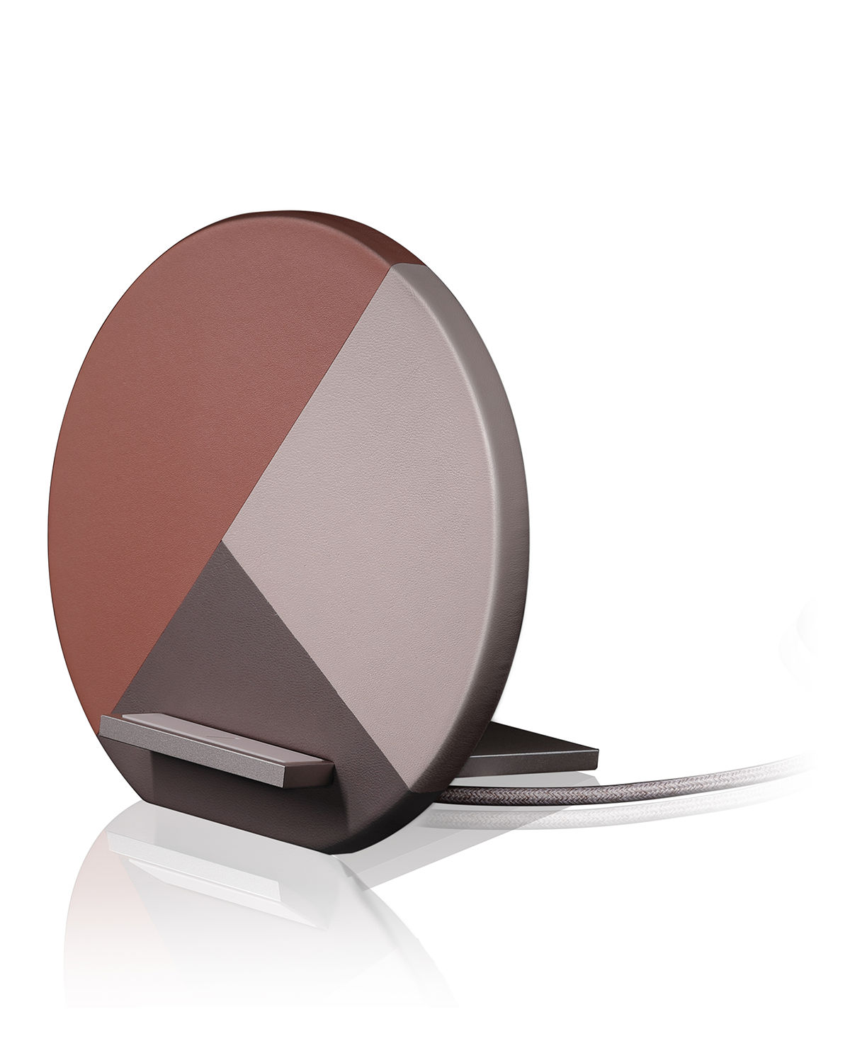 Marquetry Leather-Wrapped Wireless Charging Dock