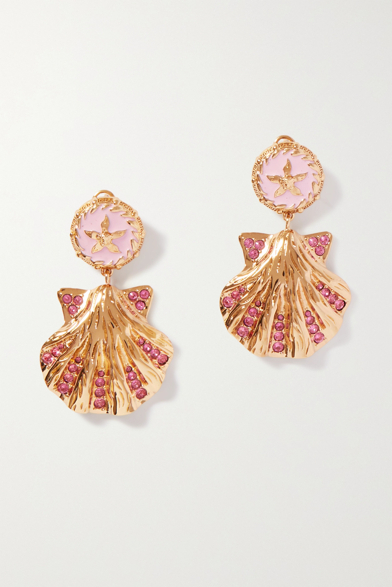 VERSACE - Trésor De La Mer Gold-tone, Enamel And Crystal Earrings - Pink - one size