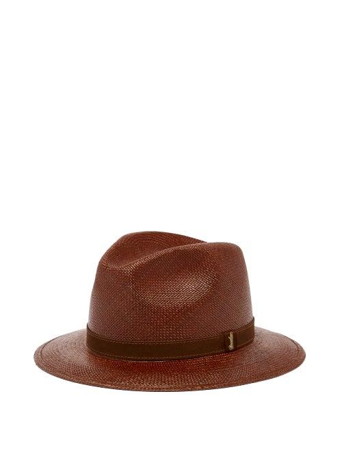 Borsalino - Country Straw Panama Hat - Mens - Dark Brown