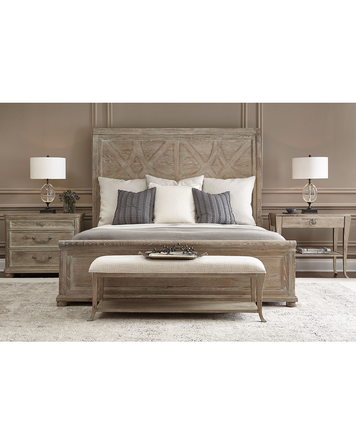 Rustic Patina Fancy Panel Bed - King