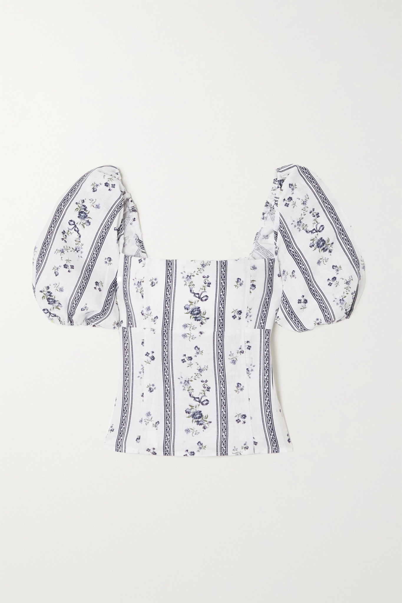 REFORMATION - Arancini Smocked Floral-print Linen Top - White - US6