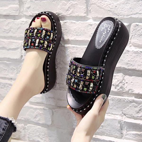 拖鞋女外穿ins潮2021年新款夏高跟涼拖網紅涼鞋松糕厚底坡跟時尚 【開春特惠】