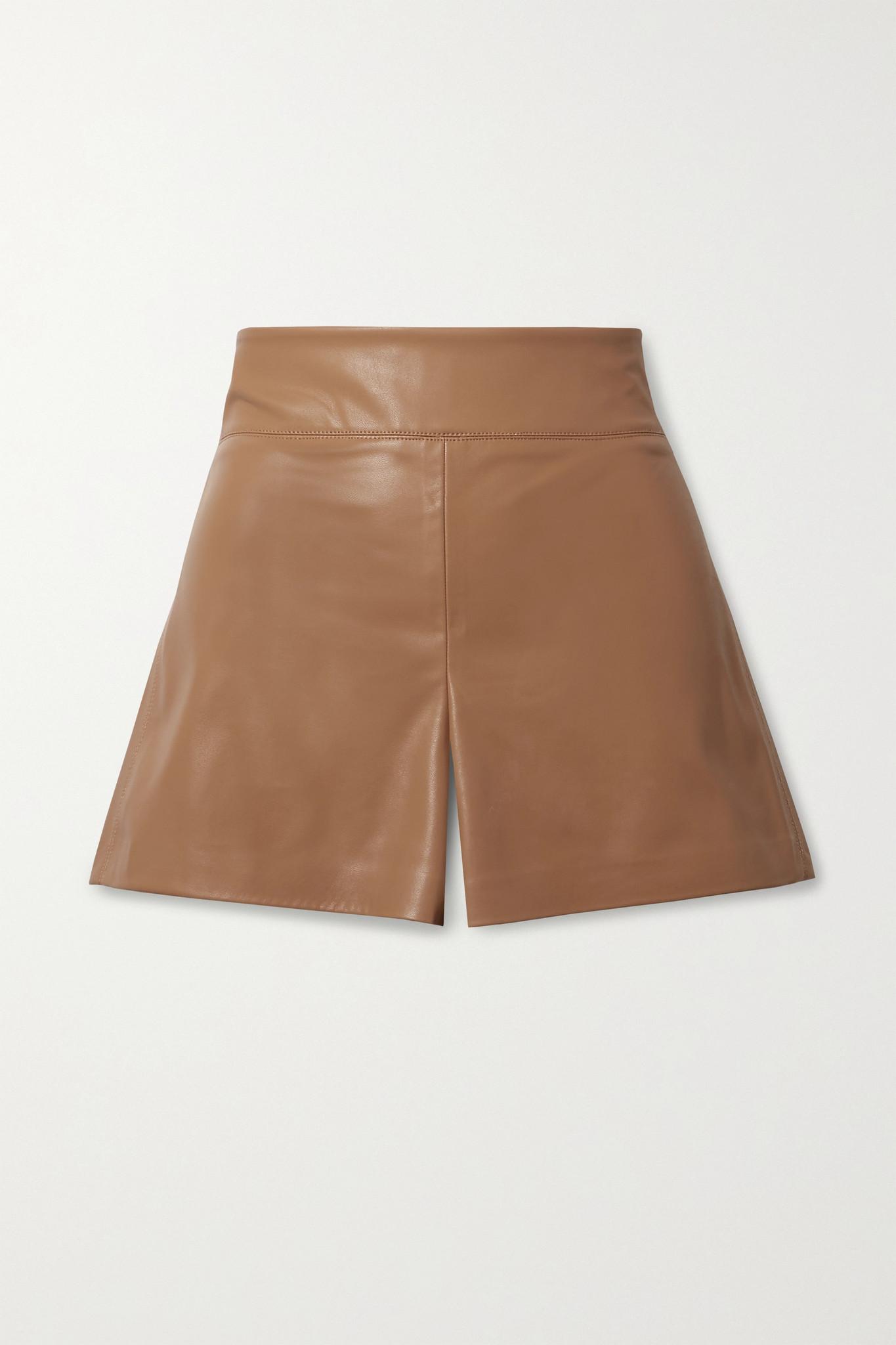 ALICE + OLIVIA - Donald Vegan Stretch-leather Shorts - Brown - US12
