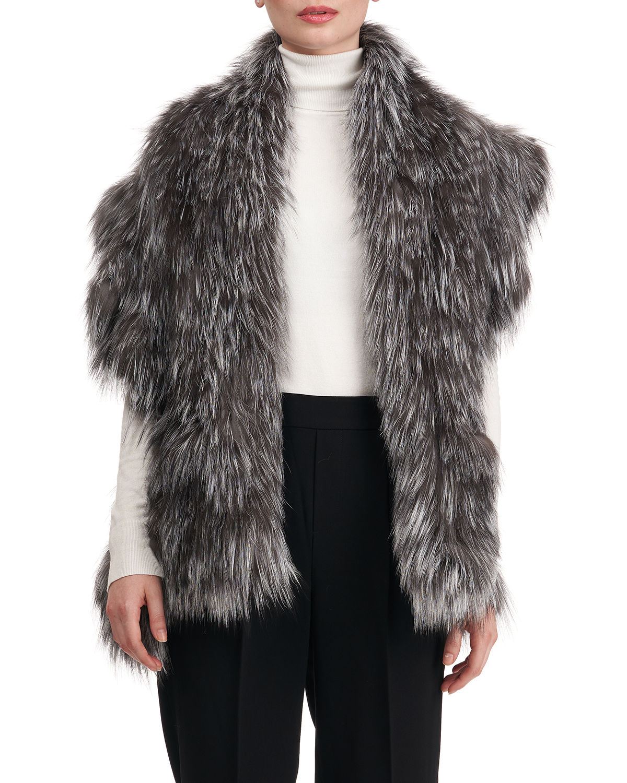 S-Cut Fox Fur Ruffle Pocket Stole