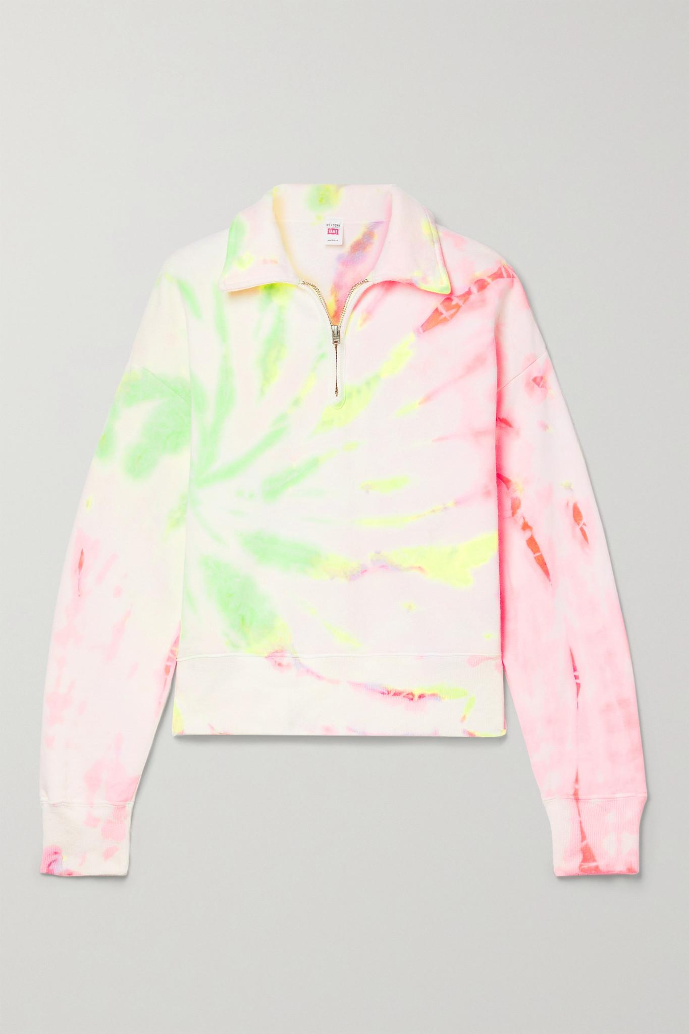 RE/DONE - + Hanes 70s Tie-dyed Cotton-jersey Sweatshirt - Cream - medium