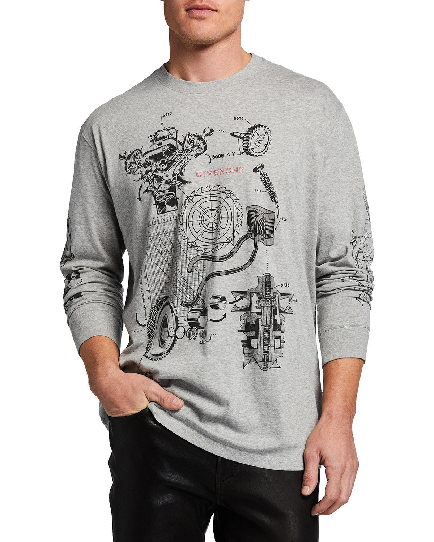 Men's Oversized Schematics Long-Sleeve T-Shirt