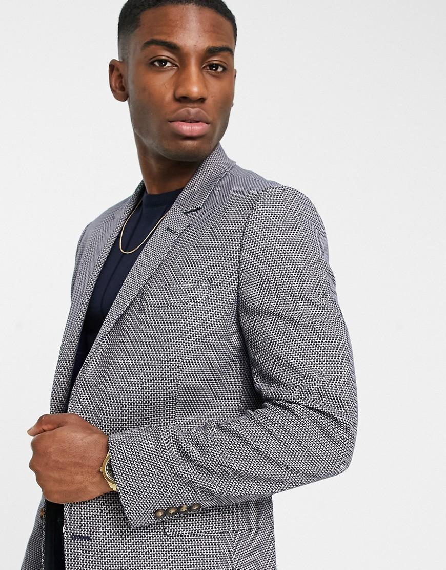 ASOS DESIGN slim suit jacket in grey birdseye-Brown