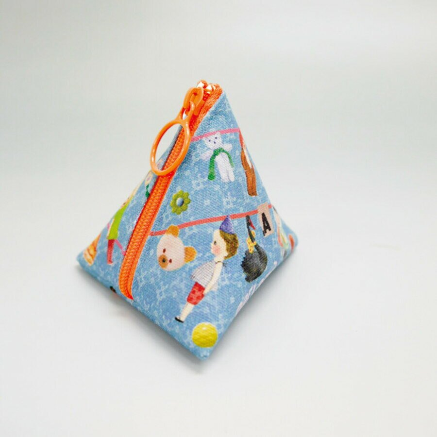 【日本製】【ECOUTE!】三角形萬用隨身小包 彩條圖案 - ecoute!