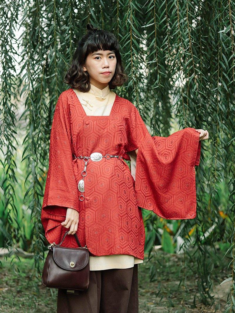 古著日本道行002 幾合暗紋 橘紅色,和服外罩【Tsubasa.Y 古著屋】