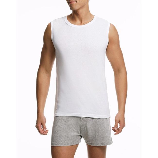 【宜而爽】時尚羅紋型男短袖寬肩背心2件組 尺寸XL