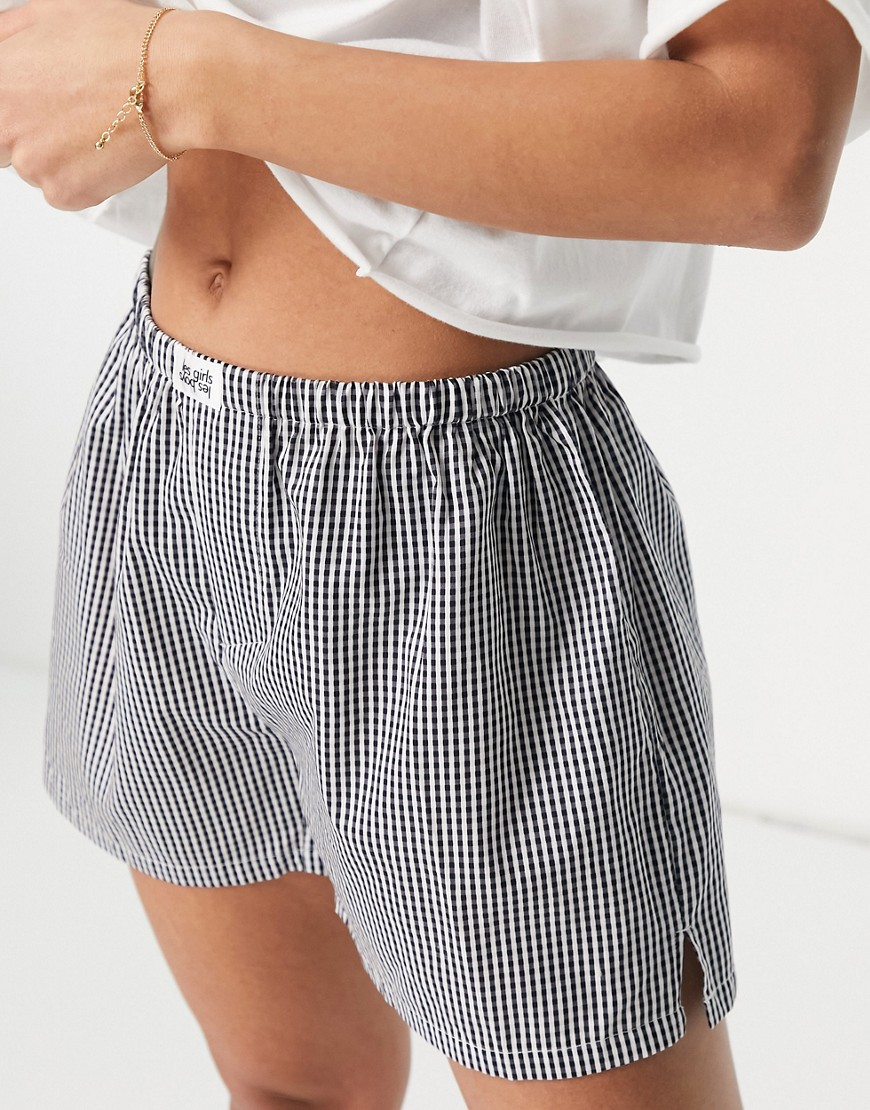 Les Girls Les Boys woven cotton boxer shorts in gingham print-Multi