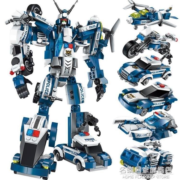 拼裝兒童玩具益智力動腦男孩8歲變形機器人金剛恐龍兼容 樂高積木-莎韓依