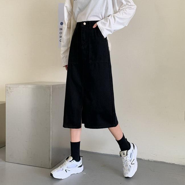 FOFU-黑色顯瘦牛仔半身裙女中長版包臀高腰a字裙【08SG05320】