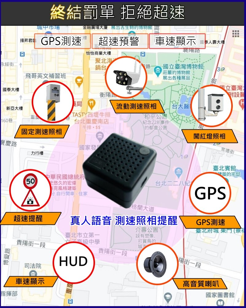 【行車記錄器專用 外接式GPS測速照相 預警器】 台灣圖資 可更新 迷你型GPS測速預警器 測速照相 真人語音提醒