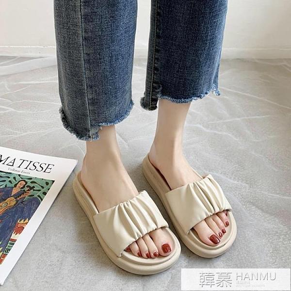 糖果色涼拖女外穿2021夏季新款百搭厚底一字可濕水網紅拖鞋ins潮 夏季新品