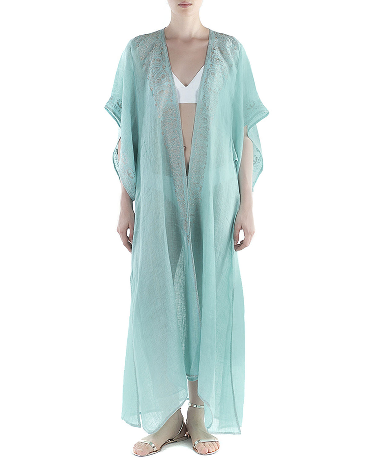 Xanadu Embroidered Long Coverup Kimono
