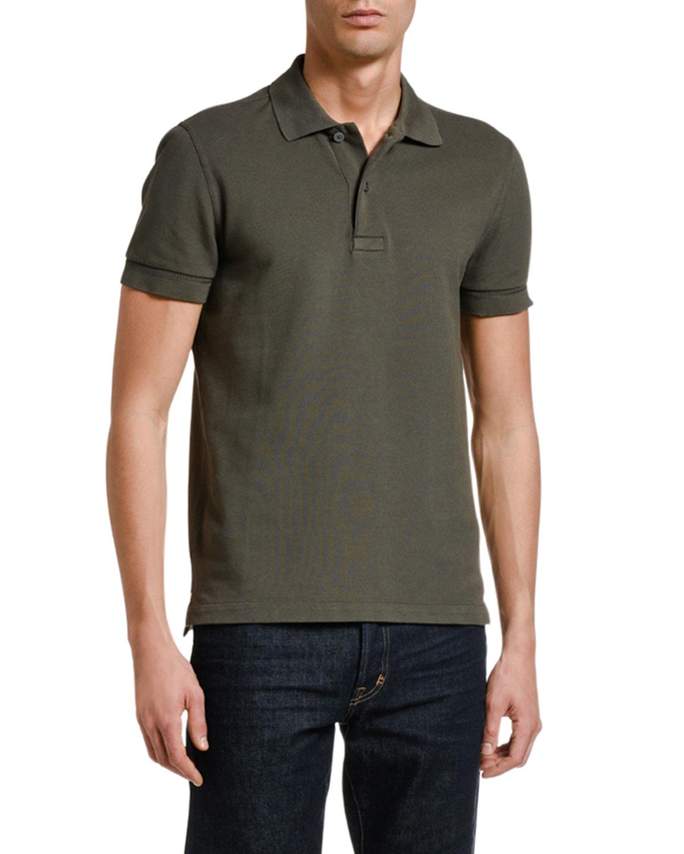 Men's Solid Tennis Pique Polo Shirt