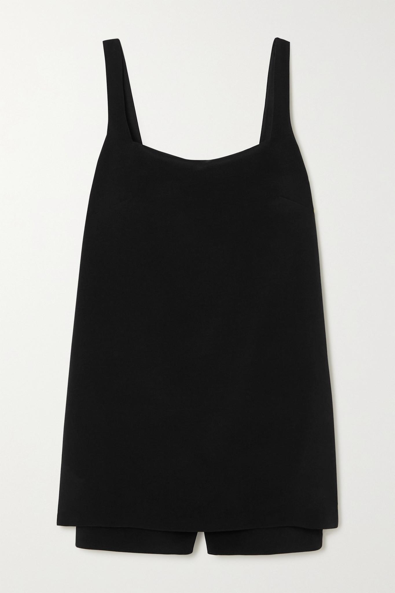 VALENTINO - Layered Wool-blend Crepe Playsuit - Black - IT38