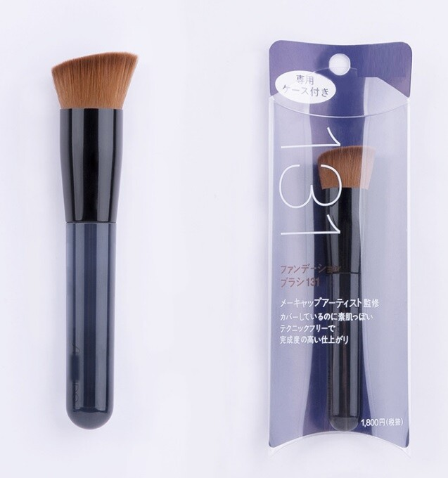 日系藍色透明斜平頭粉底刷化妝刷(1組2隻)送2各黑色收藏袋m1922alex shop