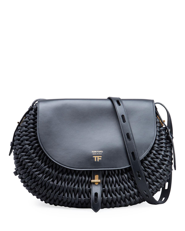 T Twist Large Woven Leather Shoulder Bag