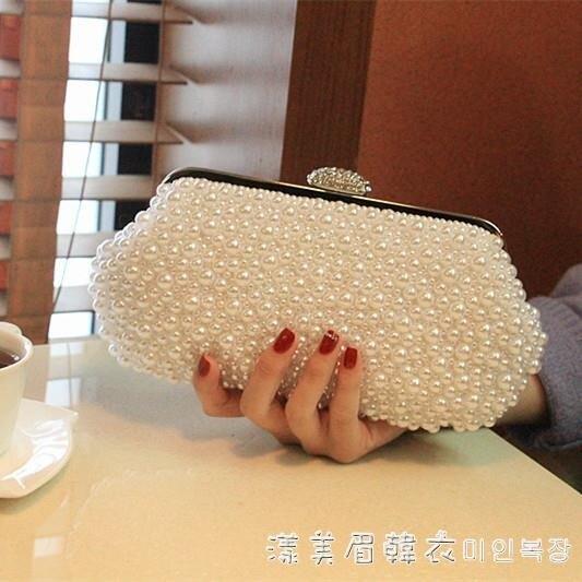 2021新款韓版珍珠包包水鉆手拿包新娘手包女包宴會包珍珠鏈條小包 蘿莉新品