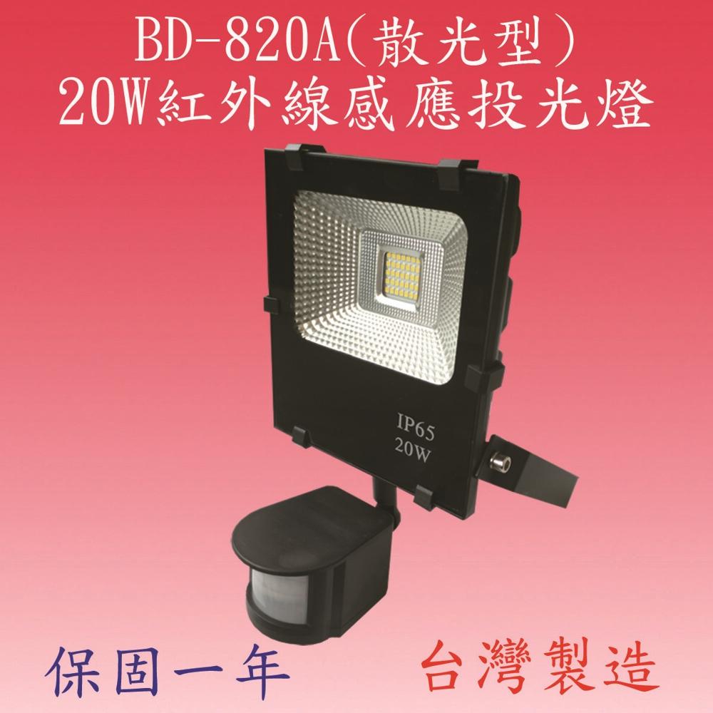 豐爍bd-820a   20w戶外型感應投光燈(台灣製)滿3000元以上送一顆led燈泡