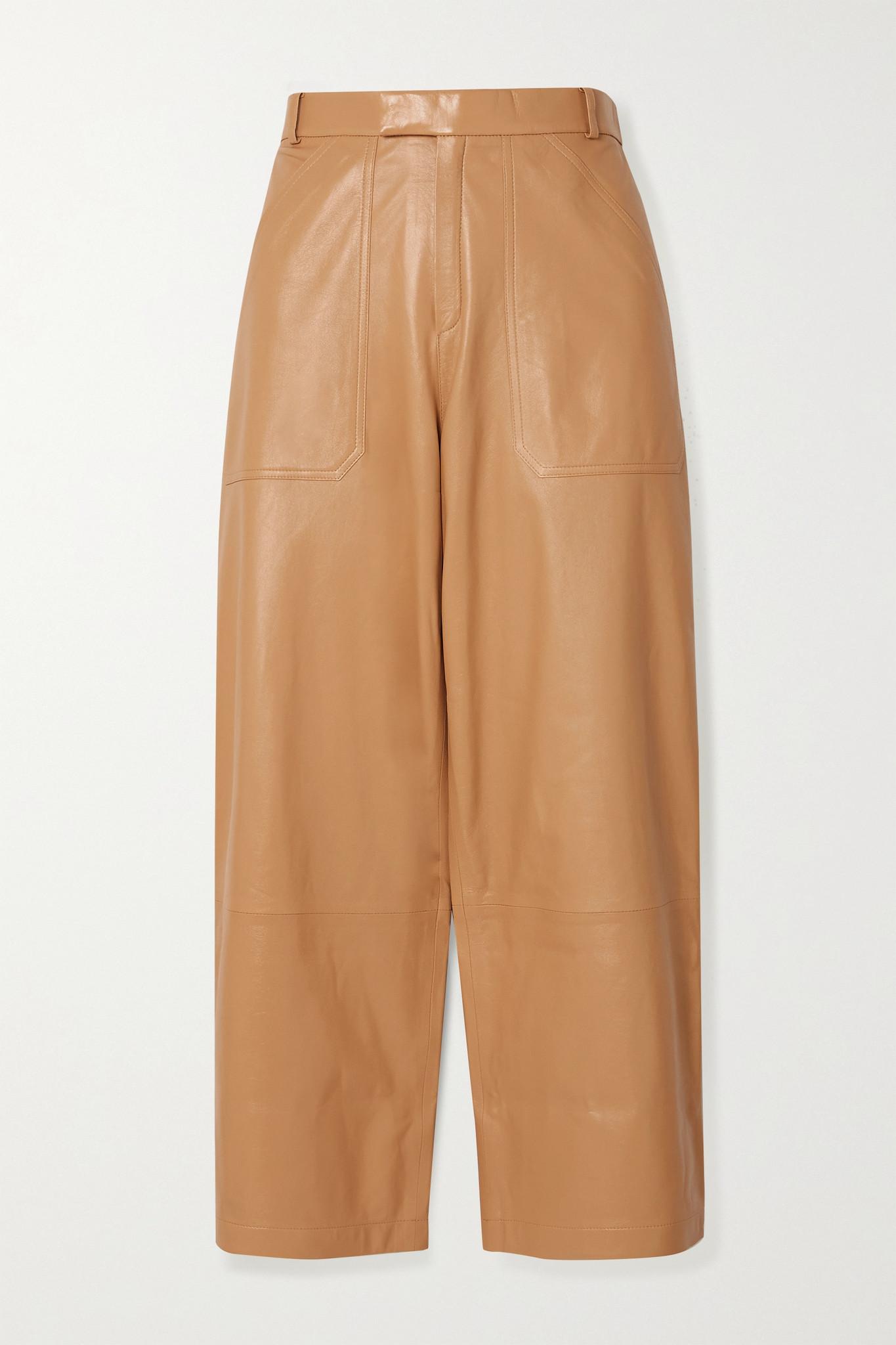 ZEYNEP ARCAY - Cropped Leather Straight-leg Pants - Neutrals - US2