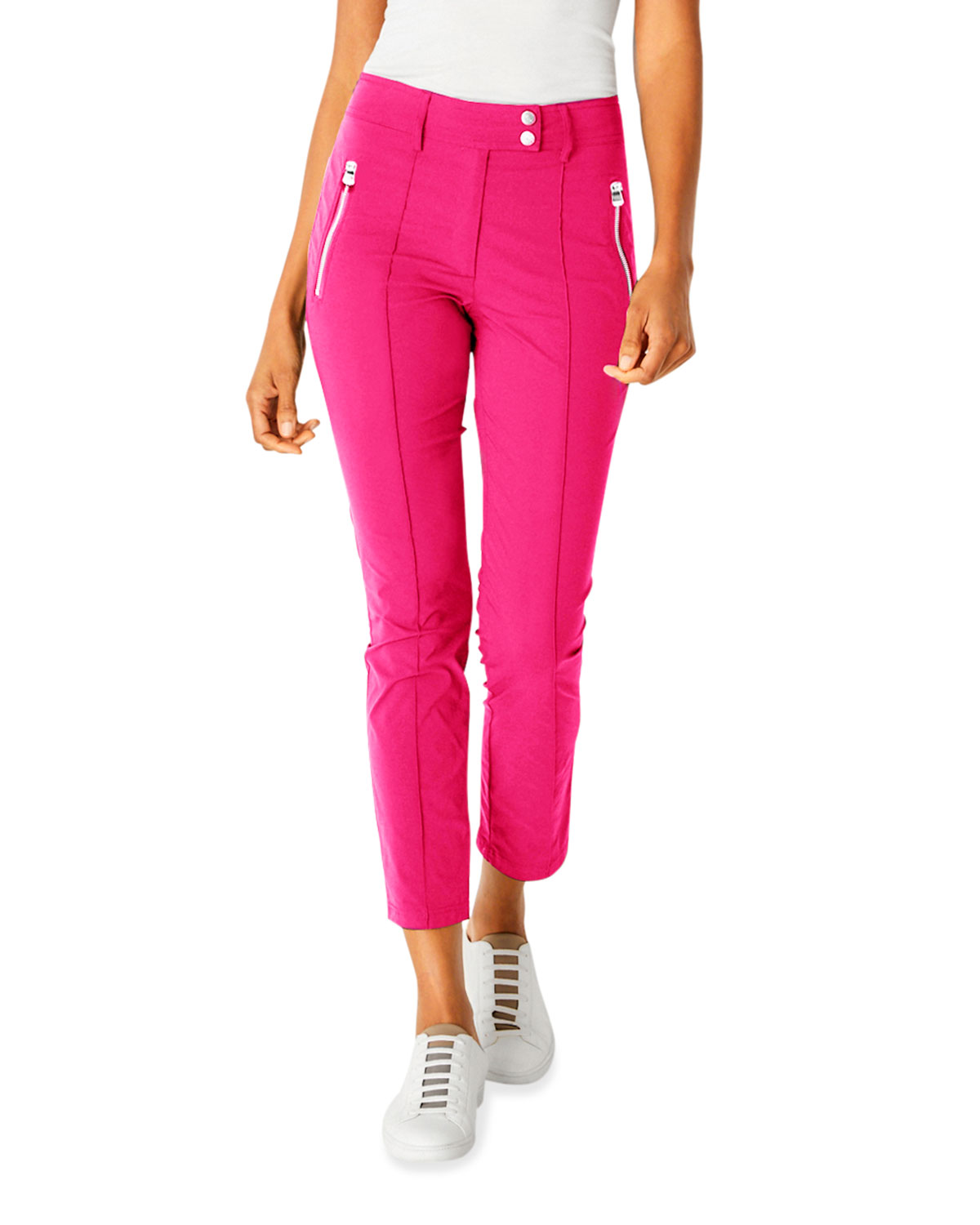 Peggy Suva Curvy-Leg Ankle Pants w/ Zippers