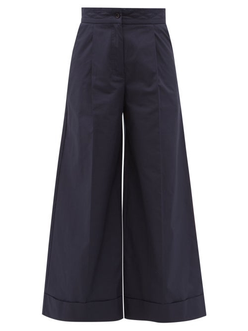 See By Chloé - Quilted Cotton-canvas Wide-leg Trousers - Womens - Navy