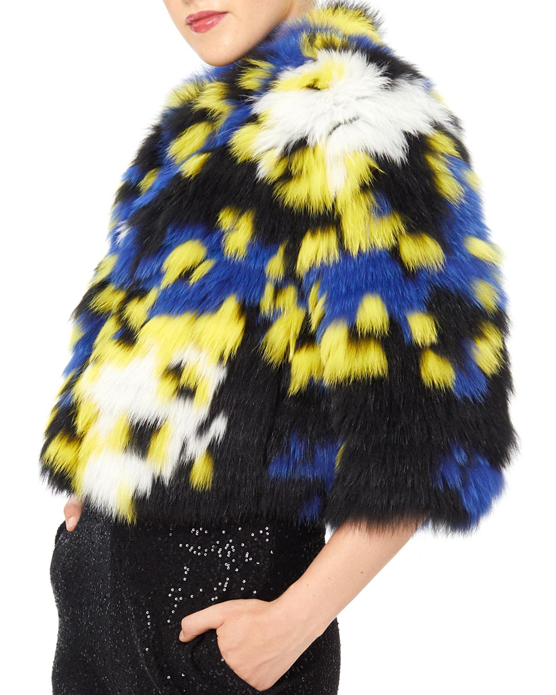 Intarsia Fox Fur Bolero