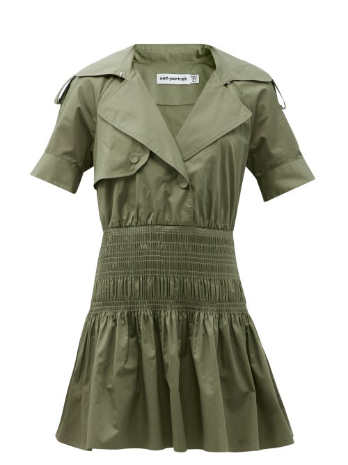 Self-portrait - Smocked-waist Cotton Trench Mini Dress - Womens - Khaki