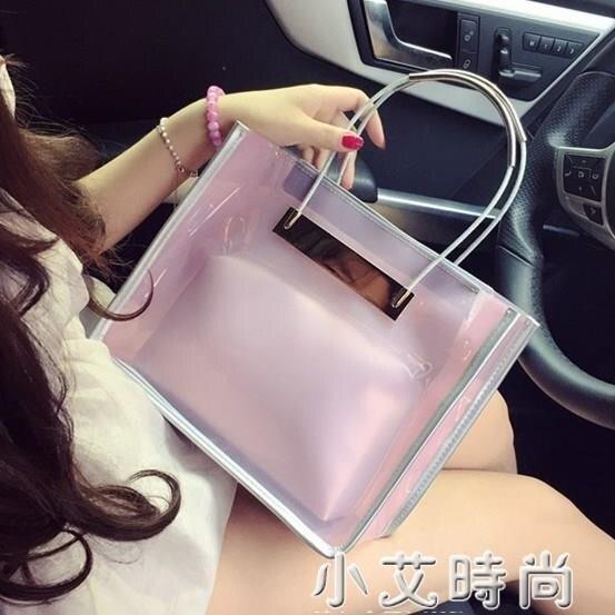 2020韓版新款內膽果凍透明包包女手提百搭復古包網紅鏈條斜挎女包